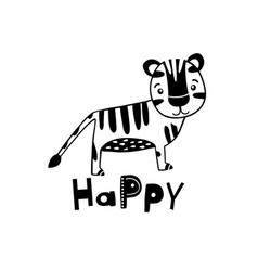 Cute hand drawn tiger in black and white style vector