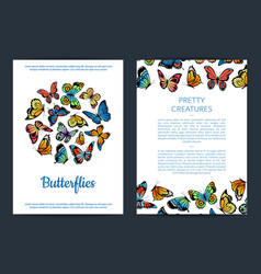 decorative butterflies card or flyer vector image