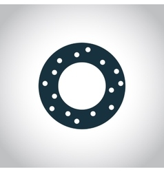 Donut flat black icon vector image