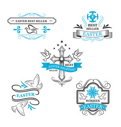 easter sale icon ribbons paschal discount lables vector image