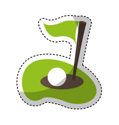 Flag golf hole icon vector