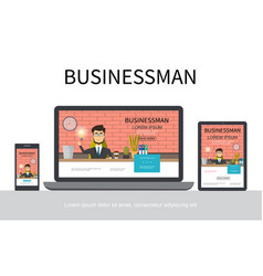 flat businessman adaptive design concept vector image