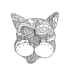 french bulldog doodle art vector image