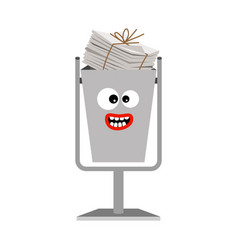 garbage can with paper trash vector image