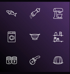 gastronomy icons line style set with pizza knife vector image