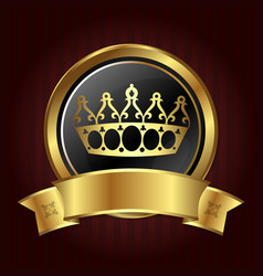 Golden crown in the circle vector