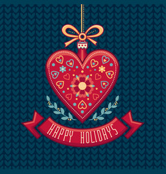 greeting card in heart form happy holidays vector image
