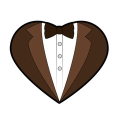 groom suit in heart shape icon vector image