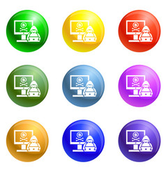 hacked computer icons set vector image