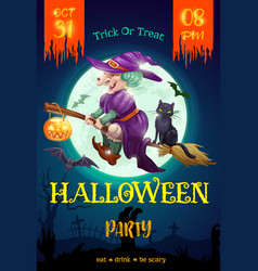 halloween party flyer witch on broom vector image