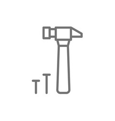 hammer and nails building tools line icon vector image