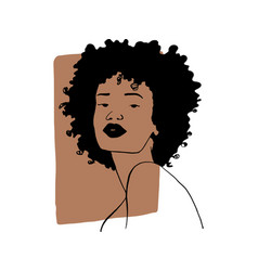 Hand draw outline portrait an afro woman vector