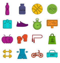healthy life icons doodle set vector image