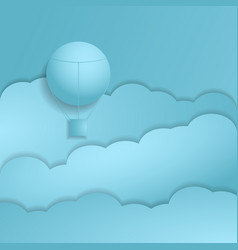 hot air balloon paper art style with pastel sky vector image