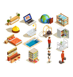 hotel isometric elements set vector image