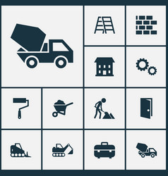 Industry icons set collection of carry cart wall vector