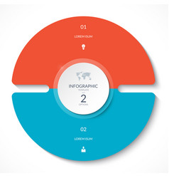 infographic circle chart with 2 options vector image