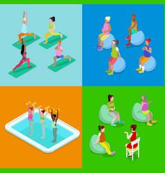 isometric pregnant woman aqua aerobics fitness vector image