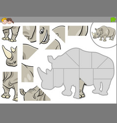 Jigsaw puzzle game with rhinoceros animal vector