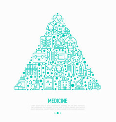 medicine concept in triangle with thin line icons vector image