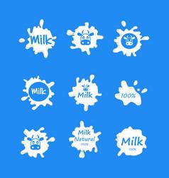 milk or yogurt or cream logo labels milk vector image