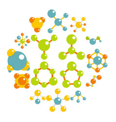 molecule icons set in flat style vector image