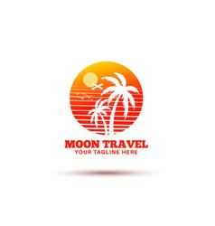 Moon travel logo design vector