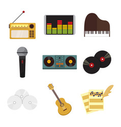 musical equipment instrument icons graphic set vector image