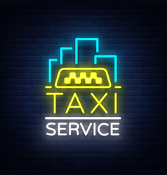 Neon taxi logo isolated on a brick vector