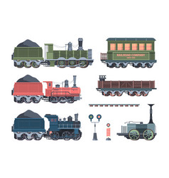 Old steam locomotives set comfortable green cars vector