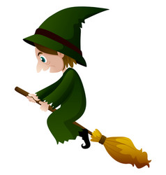 old witch in green dress on the broom vector image