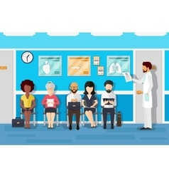 Patients in doctors waiting room vector