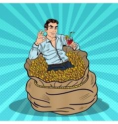 Pop Art Businessman Swimming in Money Bag vector image