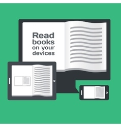 Reading books on electronic mobile devices vector image