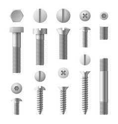realistic 3d metal bolts nuts rivets and screws vector image