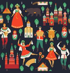 Russian sights and folk art flat design vector
