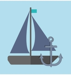 sailboat over blue background icon image vector image