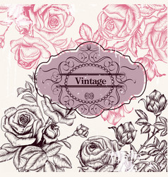 Save the date or invitation with hand drawn roses vector