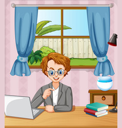Scene with man working on computer in room at vector