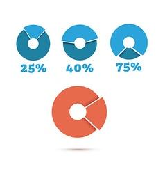 set blue circle diagram business chart elements vector image