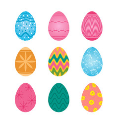 set of bright colored easter eggs with floral vector image