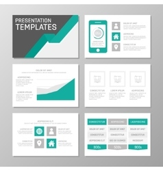 Set of gray and turquoise template for vector