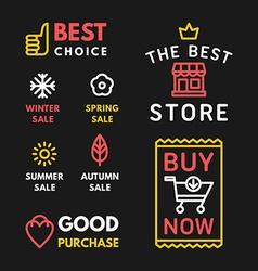 Set of Shopping Badges on Black Background Best vector image vector image