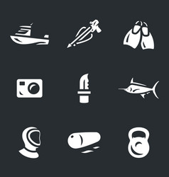 Set of spearfishing icons vector