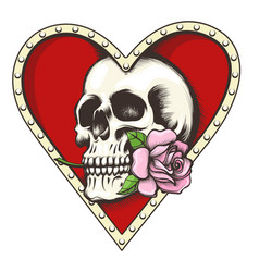 Skull with rose in a heart shaped hole vector