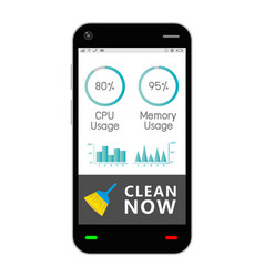 Smartphone with task manage cleaning application vector