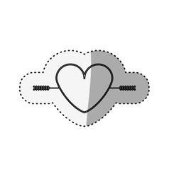 sticker silhouette heart crossed by arrow vector image