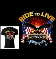 T-shirt design for bikers with eagle and flags vector