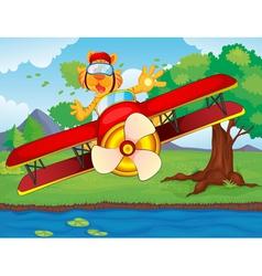Tiger flying plane vector