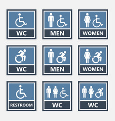 toilet icons and restroom signs wc labels vector image